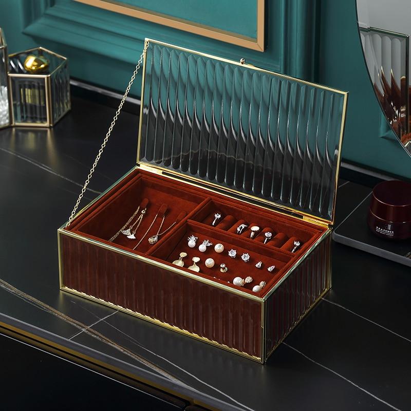 Casegrace Luxury Golden Jewelry Storage Box Desktop Glass Necklace Ring Earring Cosmetic Makeup Jewellery Case Organizer Casket