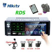 "Hikity Autoradio1 din araba radyo 4.1 ""inç dokunmatik ekran araba Stereo multimedya MP5 çalar Bluetooth RDS çift USB desteği mikrofon"