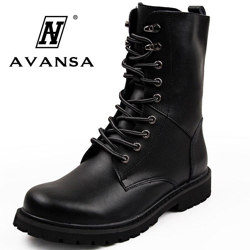 Botas de moto de cuero para hombre Botas de combate militares de tobillo alto de media pantorrilla botas de cordones para hombre zapatos negros marrones botas tácticas del ejército