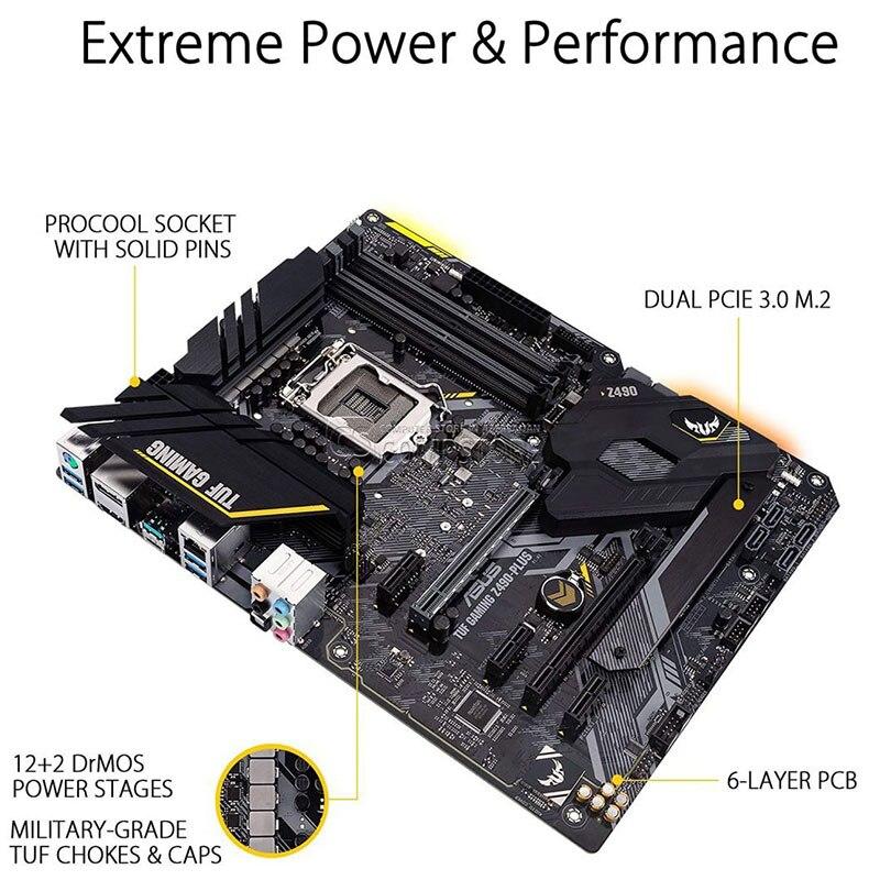 LGA 1200 Asus TUF GAMING Z490-PLUS(WI-FI) Motherboard Set + Intel Core i7 10700K Combo DDR4 128GB M.2 Intel Z490 Placa-Mãe Kit