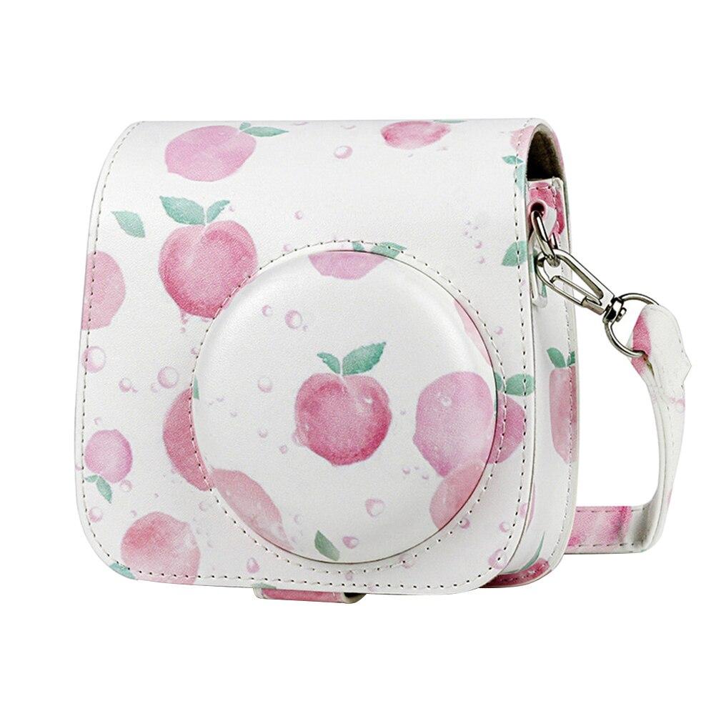 Bolso bandolera portátil, elegante bolso de hombro, a la moda de PU bolso de cuero, Compatible con Insta Mini 9 / 8 + / 8 - Peach