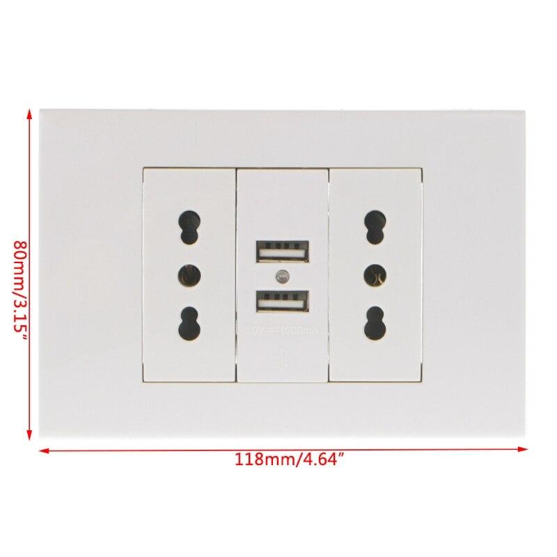 p15d 16a parede dupla italiano chile plug adaptador de tomada de energia dupla portas