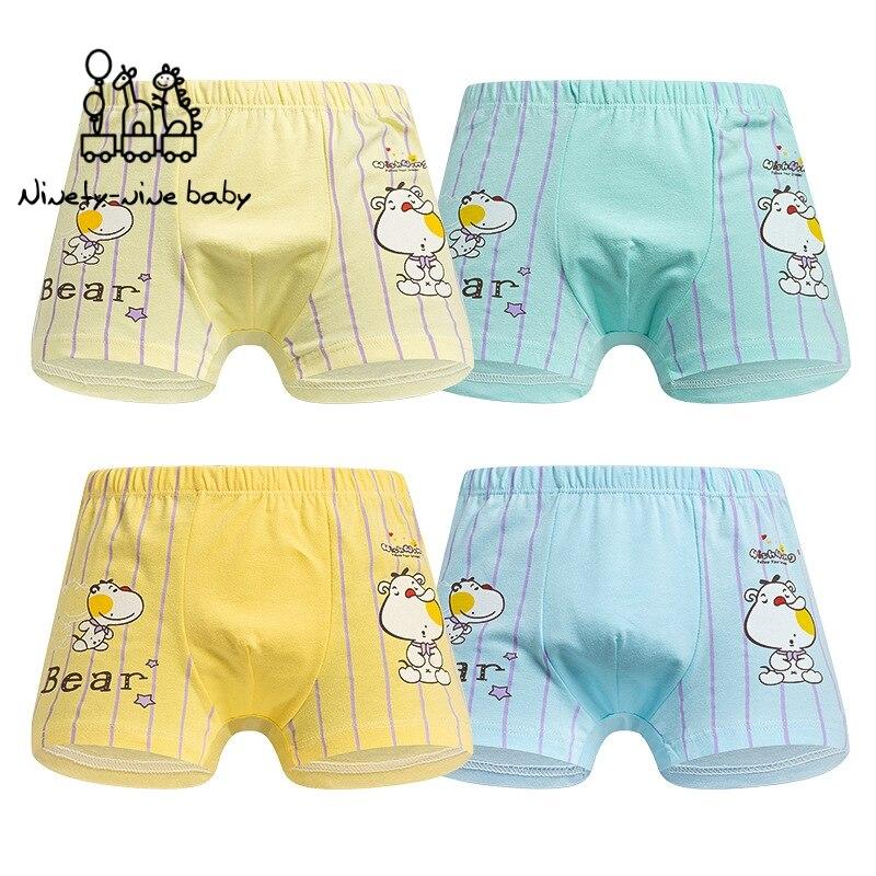 4 unids/lote chico ropa interior de algodón con estampado de animales de dibujos animados, calzoncillos de estilo Boxer para niños, ropa interior para chico s