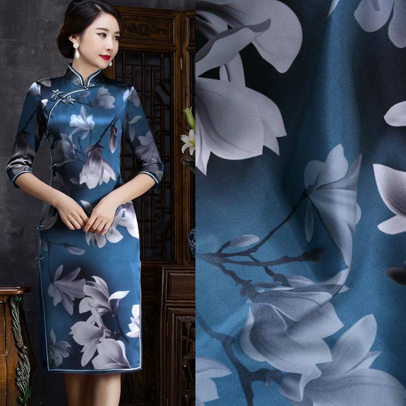 Magnolia flor impresa China mulberry seda estiramiento satén tela 108 cm ancho 19mm camisa vestido bufanda cheongsam spandex tela