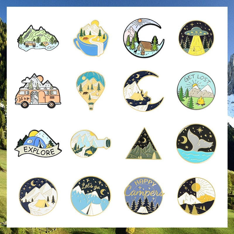 Mountain Enamel Pins Collection Wanderlust Brooches Lake Forest Camping Tree Badges Gift for Adventure Travel Lover lake hills collection hssy156