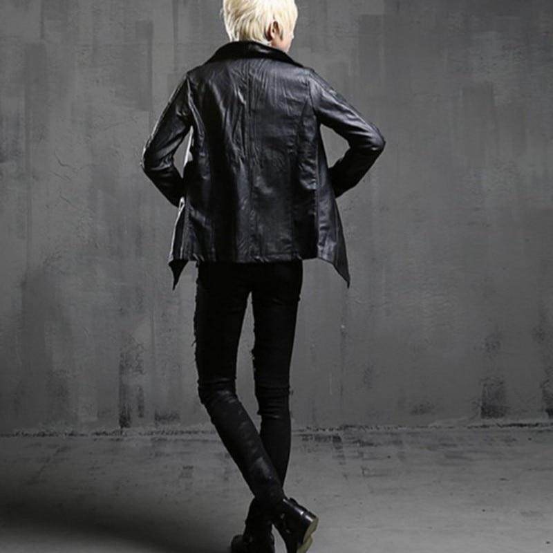 معطف رجالي جديد عتيق الطراز القوطي, ياقة عالية ، مصنوع من الجلد الاصطناعي ، ضيق يلائم شكل الشرير ، مناسب للدراجات النارية ، مقاوم للرياح