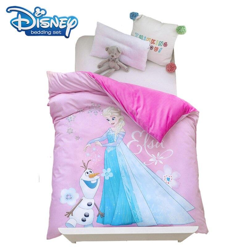غطاء لحاف وردي فروزن إلسا ، غطاء لحاف من القطن الفانيلا ، طقم سرير سميك ، يحافظ على الدفء ، حشو