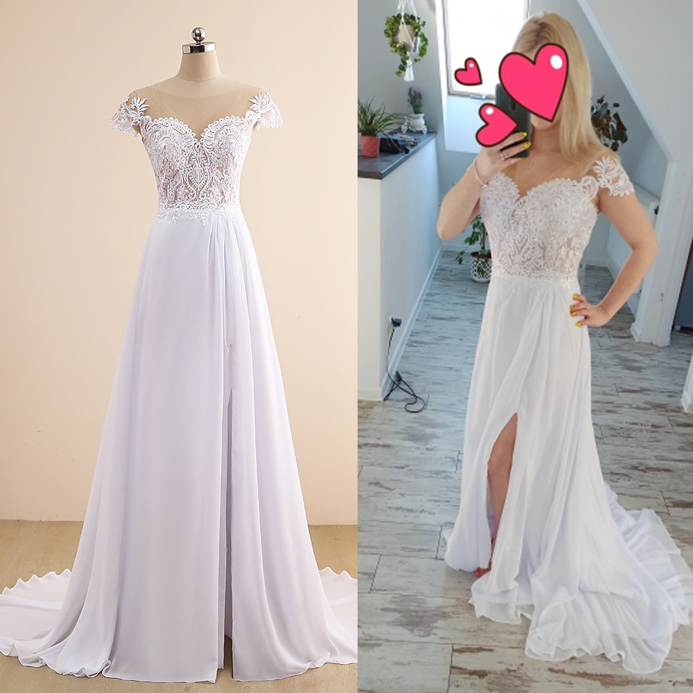 Jiayigong Bohemian Wedding Dress Robe De Mariee Sexy Side Slit Lace Applique Beach Wedding Dresses Plus Size Bridal Gown