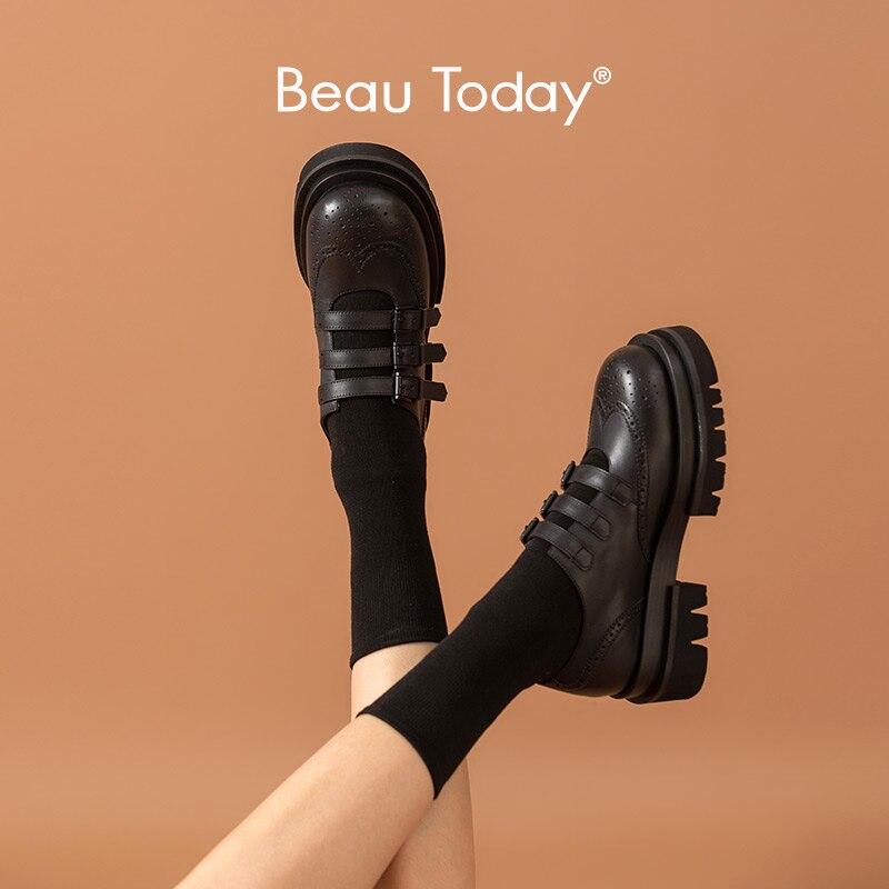 BeauToday لوليتا أحذية النساء جلد العجل البروغ منصة اصبع القدم المستديرة الثلاثي مشبك الأشرطة الحلو الفتيات JK موحدة أحذية 28402