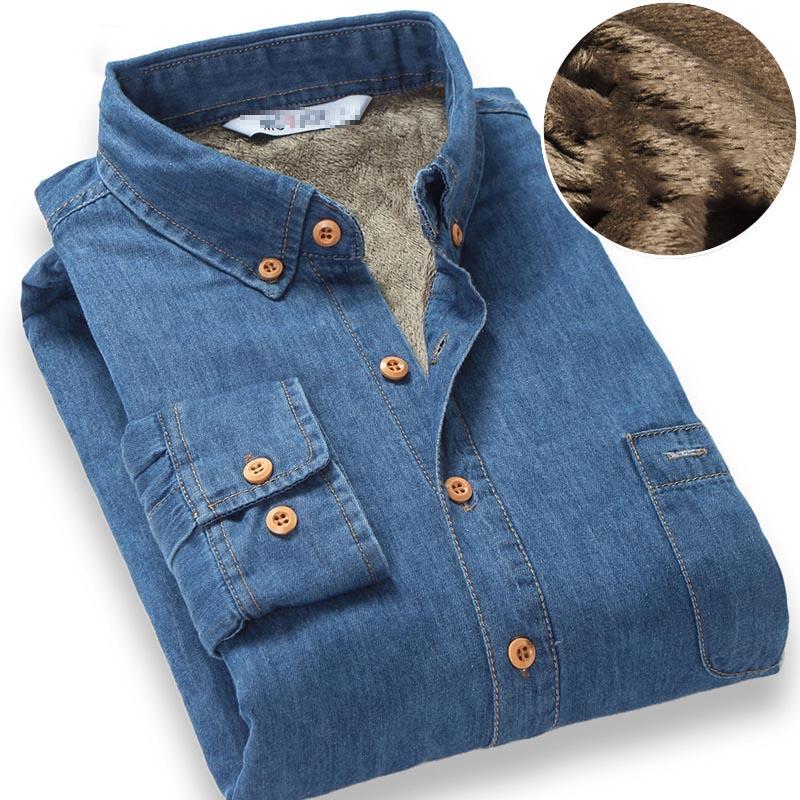 Top Quality Fashion Brand Winter Jeans Shirt Men Warm Fleece Lined Velvet Denim Shirts 4XL Male Bottoming Shirt