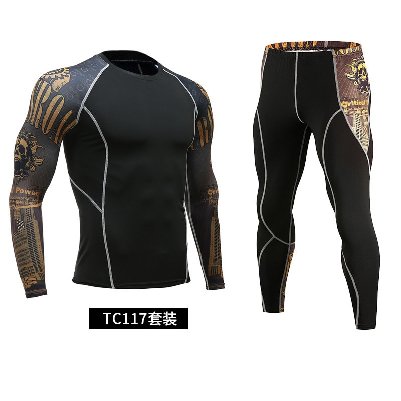 NEW men's running suit compression fitness sweat men's workout clothes track suit men's sportswear training long-sleeved trouser