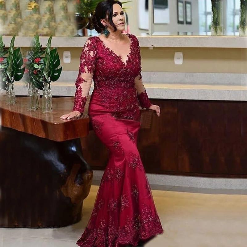 Burgundy Mother Of The Bride Dresses Mermaid Long Sleeves Appliques Beaded Long Elegant Groom Mother
