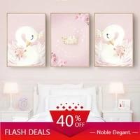 Toile dart mural de noel pour petite fille  peinture de cygne rose  affiches de dessin anime  decoration nordique de maison pour chambre denfant