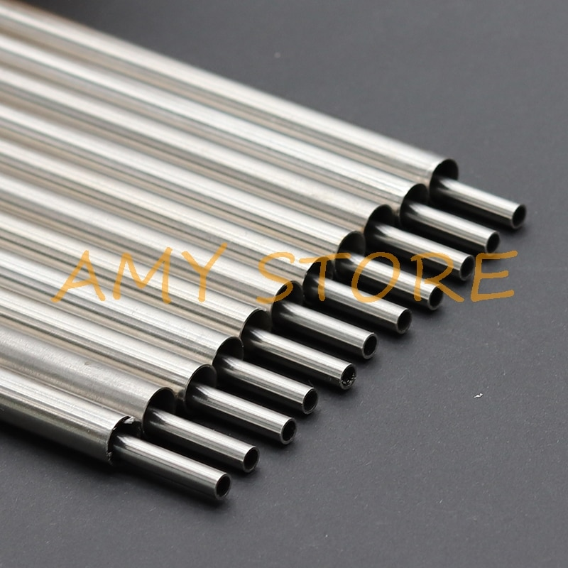 Redondo de plata tubo capilar de acero inoxidable 304 tubo OD 0,5 1 2 3 4 5 6 7 8 9 10 11 12 13mm longitud 250mm hueco tubo Circular