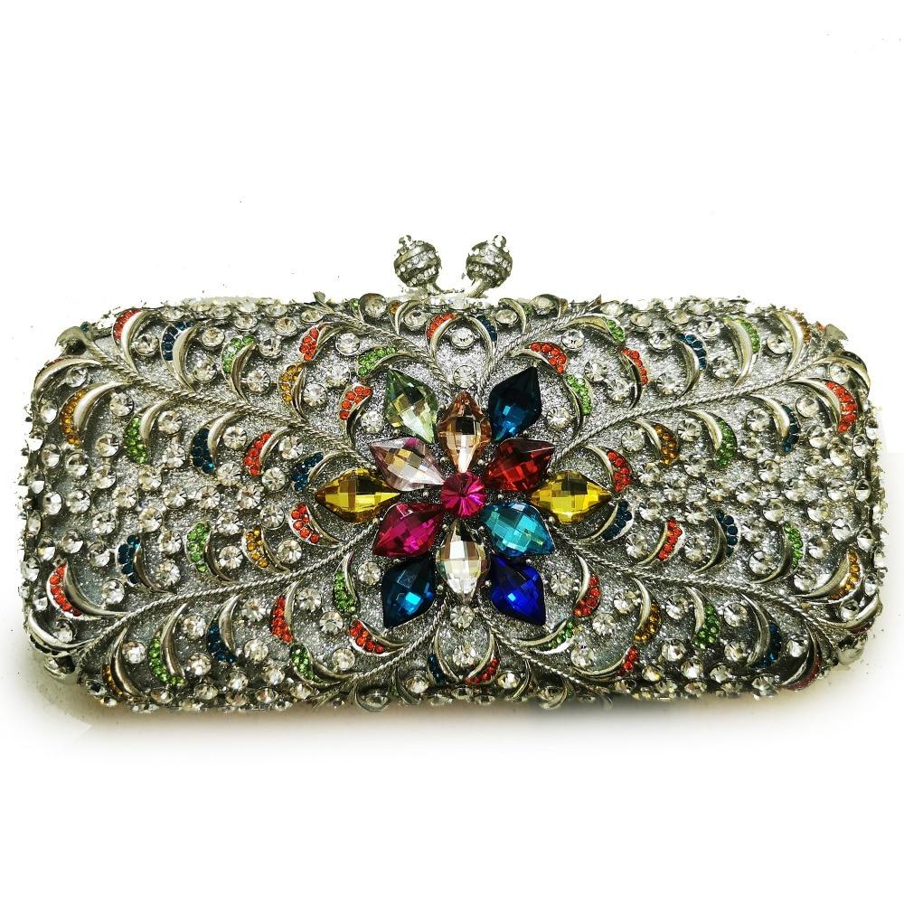 حقيبة يد أنيقة من الكريستال للنساء ، حقيبة سهرة ، حقيبة زفاف ، ماسية ، معدنية ، مخرمة ، للحفلات