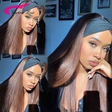 Glueless Brown Straight Headband 150Density 12-30'' Wigs For Women Human Hair Wigs Brazilian Half Wi