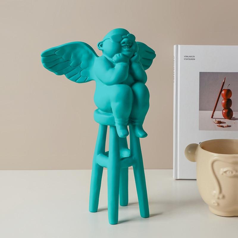 Anjo dos Desenhos Nordic Criativo Artesanato Ornamentos Resina Animados Casa Escritório Foto Adereços Decorações Suaves
