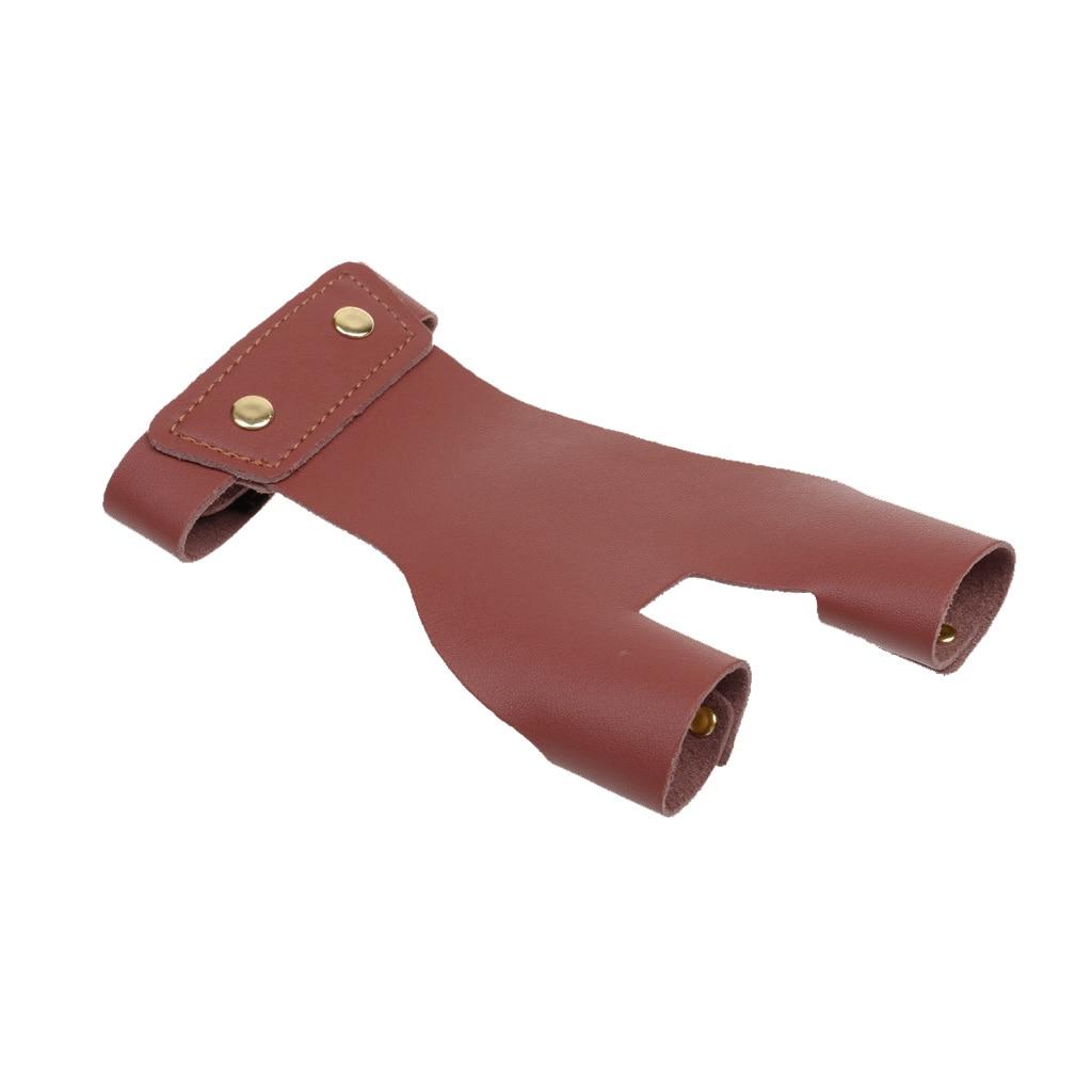 warm winter safety glove split cow leather welding work glove Cow Leather Archery Glove Protector 2 Finger Left Hand Safety Gear Brown