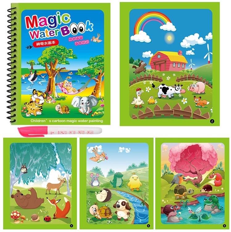 8 estilos de água mágica desenho livro colorir doodle & caneta mágica desenho brinquedos para crianças presente aniversário educação precoce