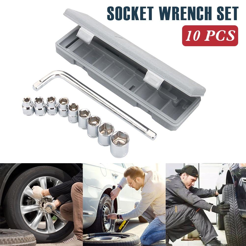 1/4-Inch Socket Set Drive Carbon Steel 9pcs Socket One L-Shaped Wrench Drive Socket Set Household Hand Drive Socket Accessories