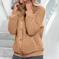 cold resistant fashion single breasted women winter coat autumn winter fleece jacket solid color for holiday