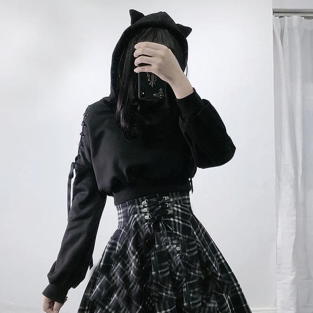 Женские толстовки y2k с длинным рукавом, милые толстовки с кошачьими ушками, готические черные толстовки в стиле Харадзюку в стиле ретро