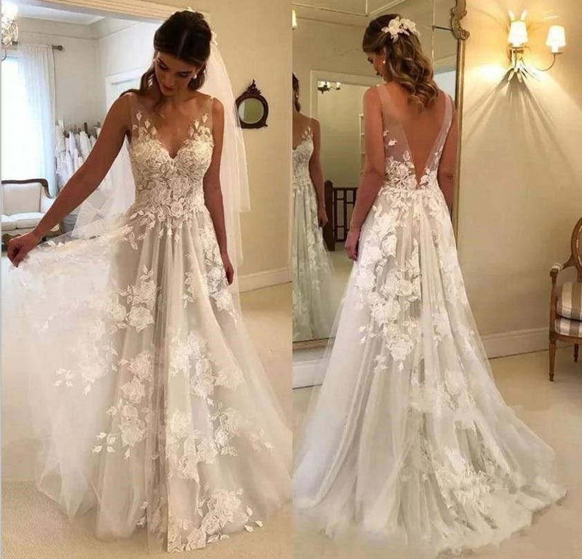 3D Flowers V Neck V Back Wedding Dress Appliqued Lace Boho Bridal Gowns Tulle Vestido De Novia Robe De Mariee