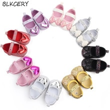Brand New Newborn Baby Girls Princess Shoes Soft Sole First Walkers Mary Jane Flats with Heart Bows