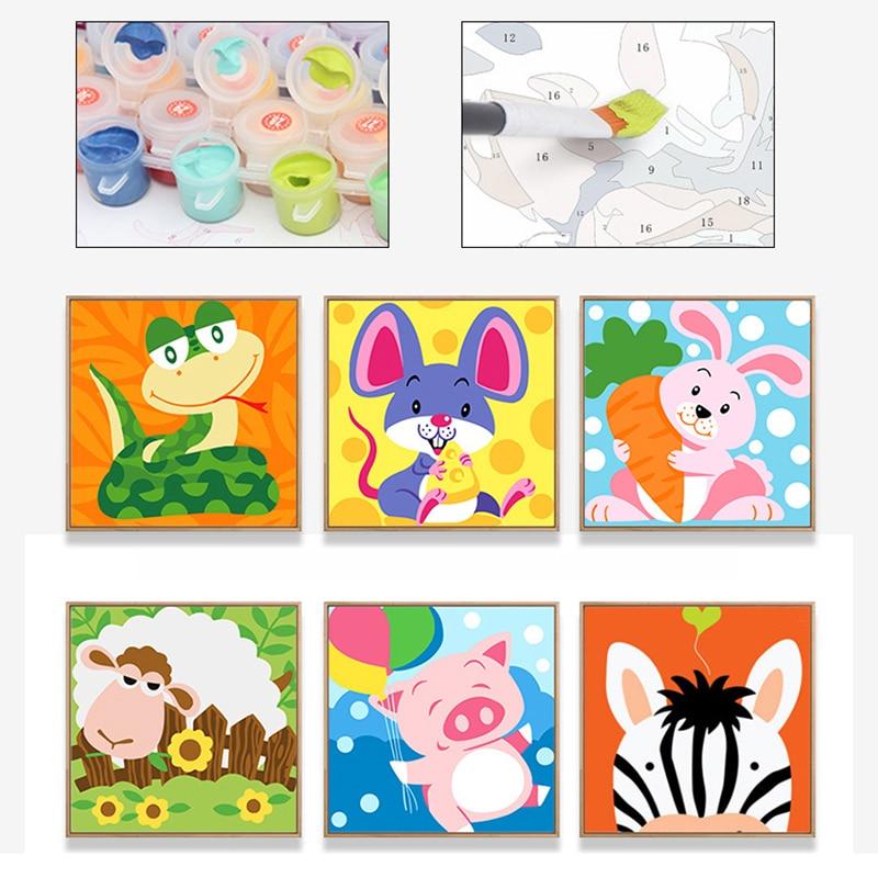Kid Digital DIY Cartoon Animals Handmade Painting Boys And Girls Handmade Painting Handicraft Toys Parent-child Interactive Toys digital interactive installations