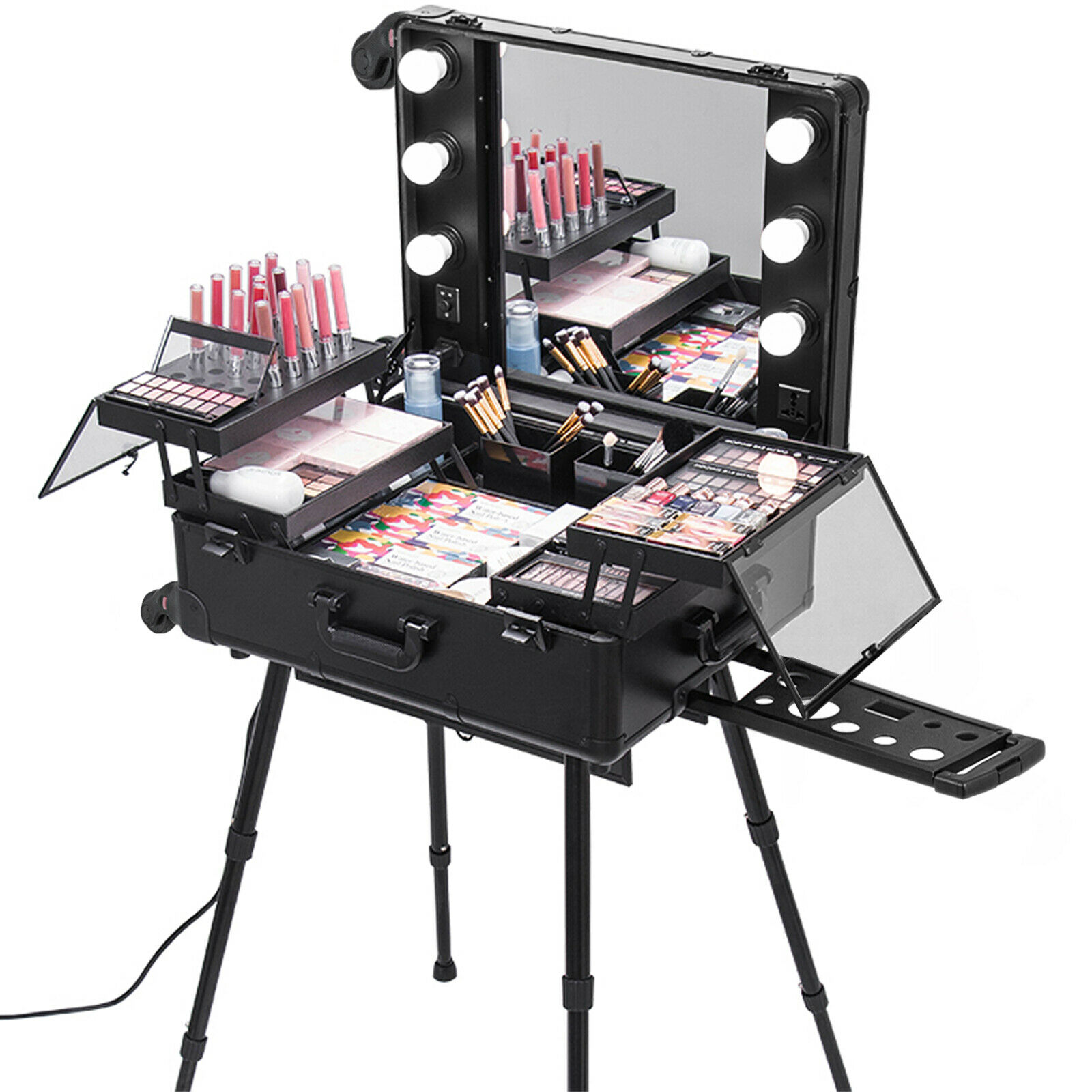 2 in 1 Cosmetic Cosmetic Case Trolley Travel Case With Leg LED Light High Stability Support Diverse