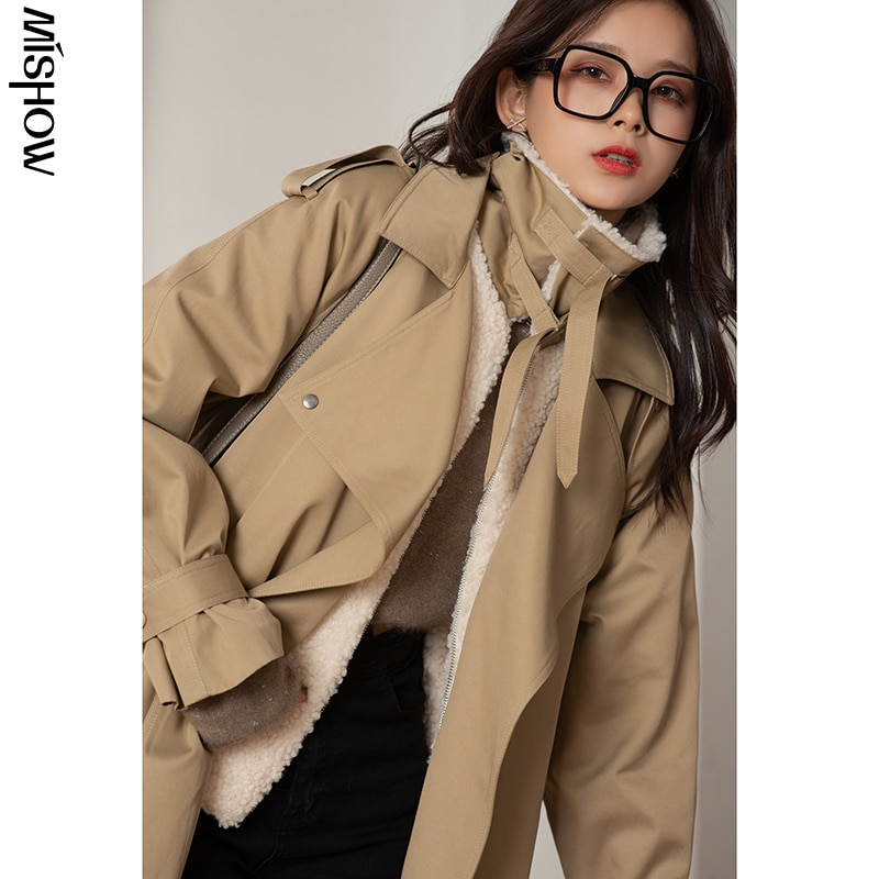 CMAZ 2020 Winter Parkas For Women Fur Collar Long Sleeve Thick Overcoats Female Clothing Fur Collar