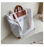 casual canvas women handbags designer letters shoulder crossbody bags female large capacity tote leather patchwork shopper bag