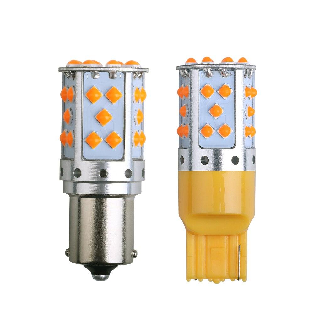 1PCS 1156 BA15S P21W Led-lampe 3030 35SMD BAU15S PY21W Canbus Fehler Freies T20 7440 W21W W21 7443 Drehen signal Hintergrundbeleuchtung Bernstein 12V