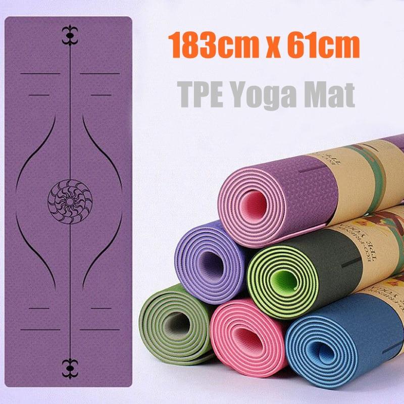 Fitness exercise sport yoga gym massage mat Rubber training workout mat yoga blanket TPE posture line non-slip yoga mat