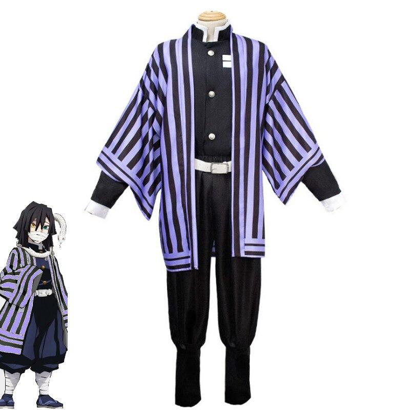 Anime demonio Cazavampiros Kimetsu no Yaiba Iguro Obanai Cosplay traje de los hombres Kimono equipo elegante Carnaval de Halloween uniforme de