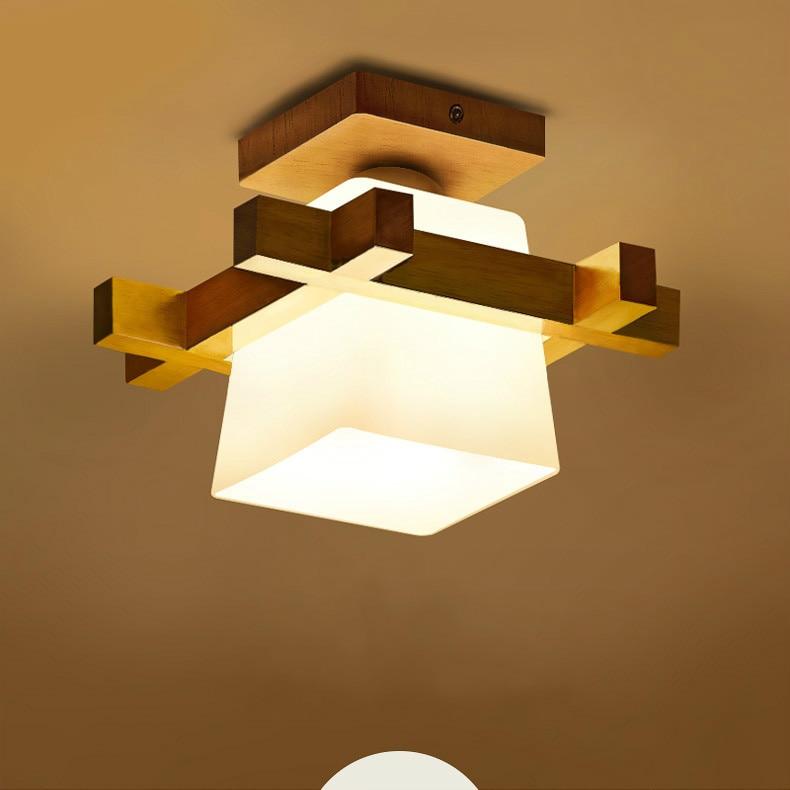 Простой светодиодный потолочный светильник из цельного дерева, современный коридор, крыльцо, маленький балкон, лампа, японские татами, гостиная, бревенчатый светильник, потолочные лампы