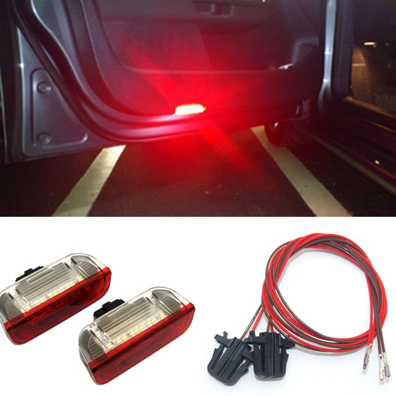 Luz LED intermitente para coche de KAHANE 2x, luz de advertencia de puerta sin Error, luz de Puddle para VW Passat B6 B7 Golf 5 6 7 Jetta MK5 CC Tiguan