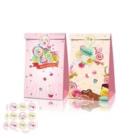 12pcs girl pink sweet lollipop candy sweetmeat theme party paper bags candy box gift bags birthday baby shower party decorations