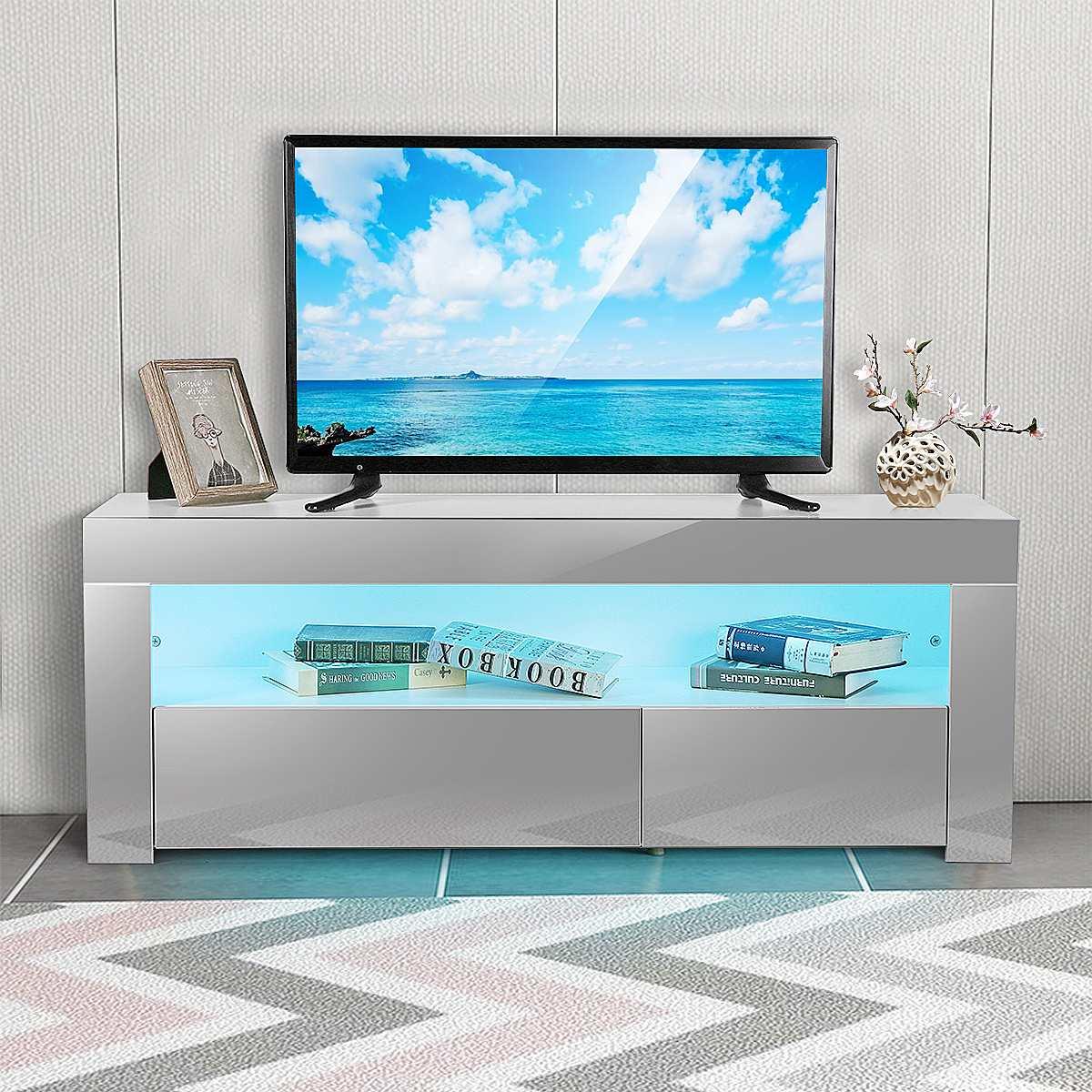 خزانة تلفزيون حديثة مقاس 47 بوصة مع أدراج وحامل تلفزيون LED وأثاث غرفة المعيشة ومفروشات منزلية وحامل وحدة تلفزيون شديد اللمعان