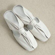 Hakiki deri tembel kat düz terlik ayakkabı kadın moda kare ayak katır yaz ayakkabı beyaz siyah flip Flop 2020 yeni ayakkabı
