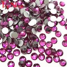 TopStone Nail Art Rhinestone no Hotfix ss3-ss34 Flatback Color fucsia pegamento para cristales en piedras para confección de ropa