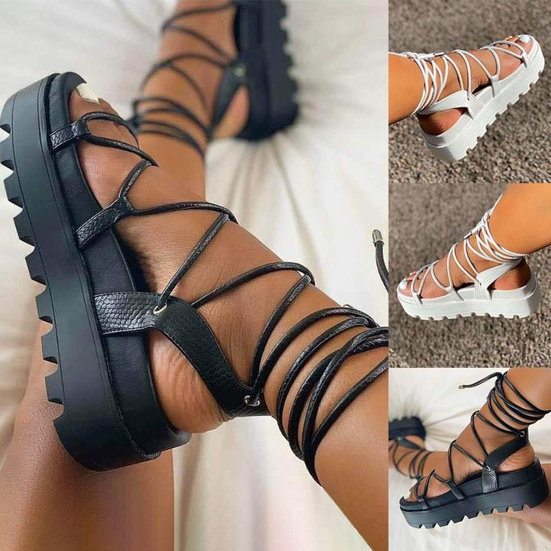 Woman Sandals Gladiator Ladies Ankle Wrap Wedges Women Platform Shoes Female Fashion Lace Up Shoes Women's Footwear Plus Size 43