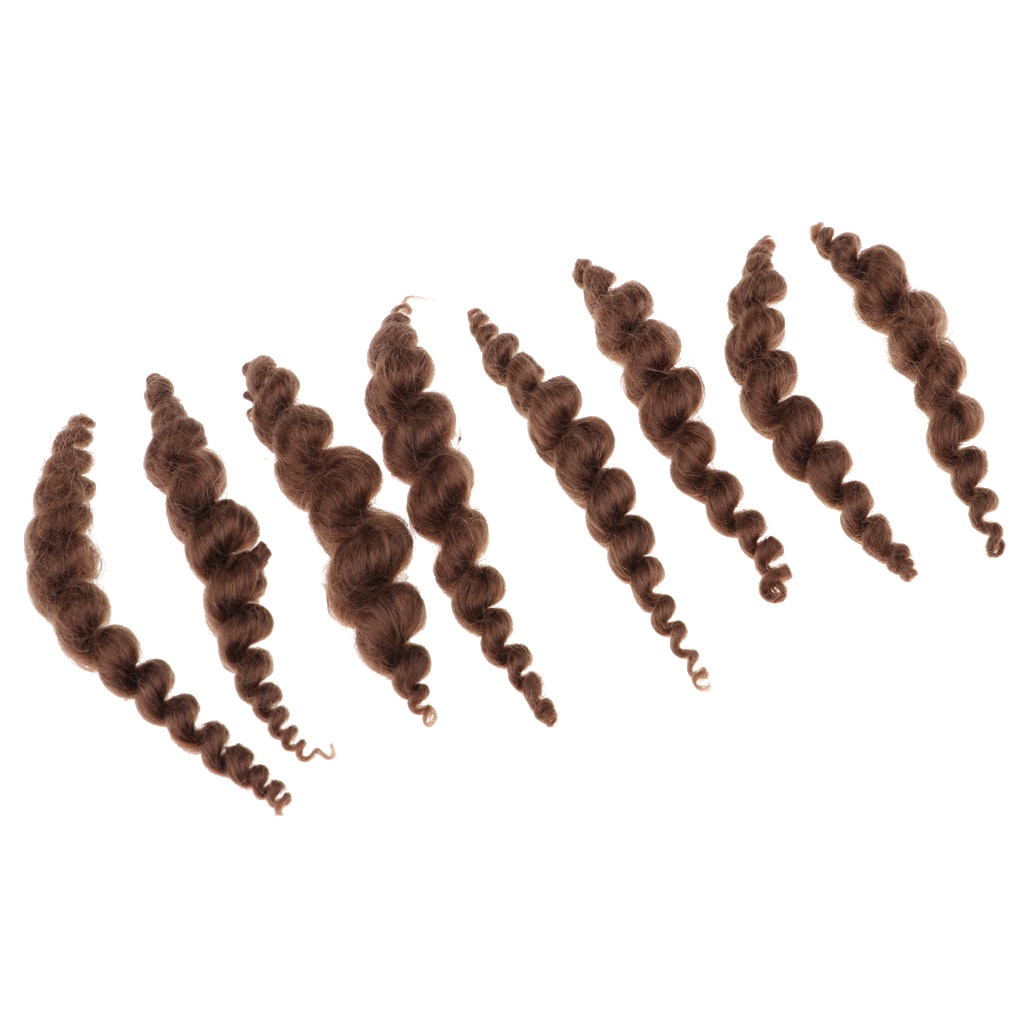 8 Stripes Brown Pure Curly Mohair Long Curly Hair Wig for Reborn Doll Looks Like Real Fine Baby Hair DIY Handmade Accessories