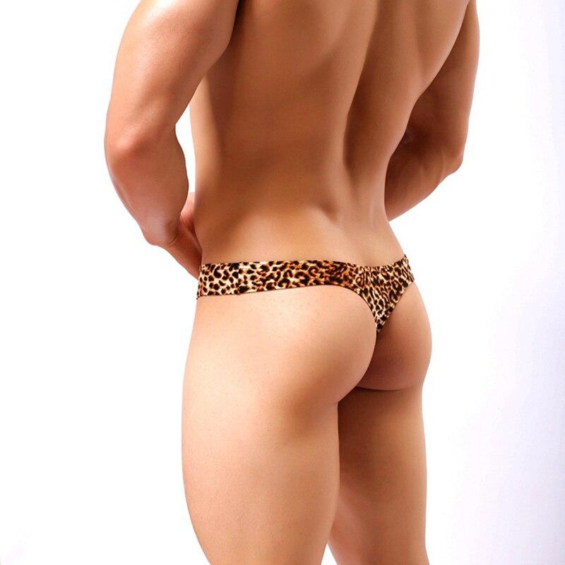 Ropa interior Sexy para hombre, tangas con parte trasera en T, Tanga de leopardo, lencería, calzoncillos con bolsa