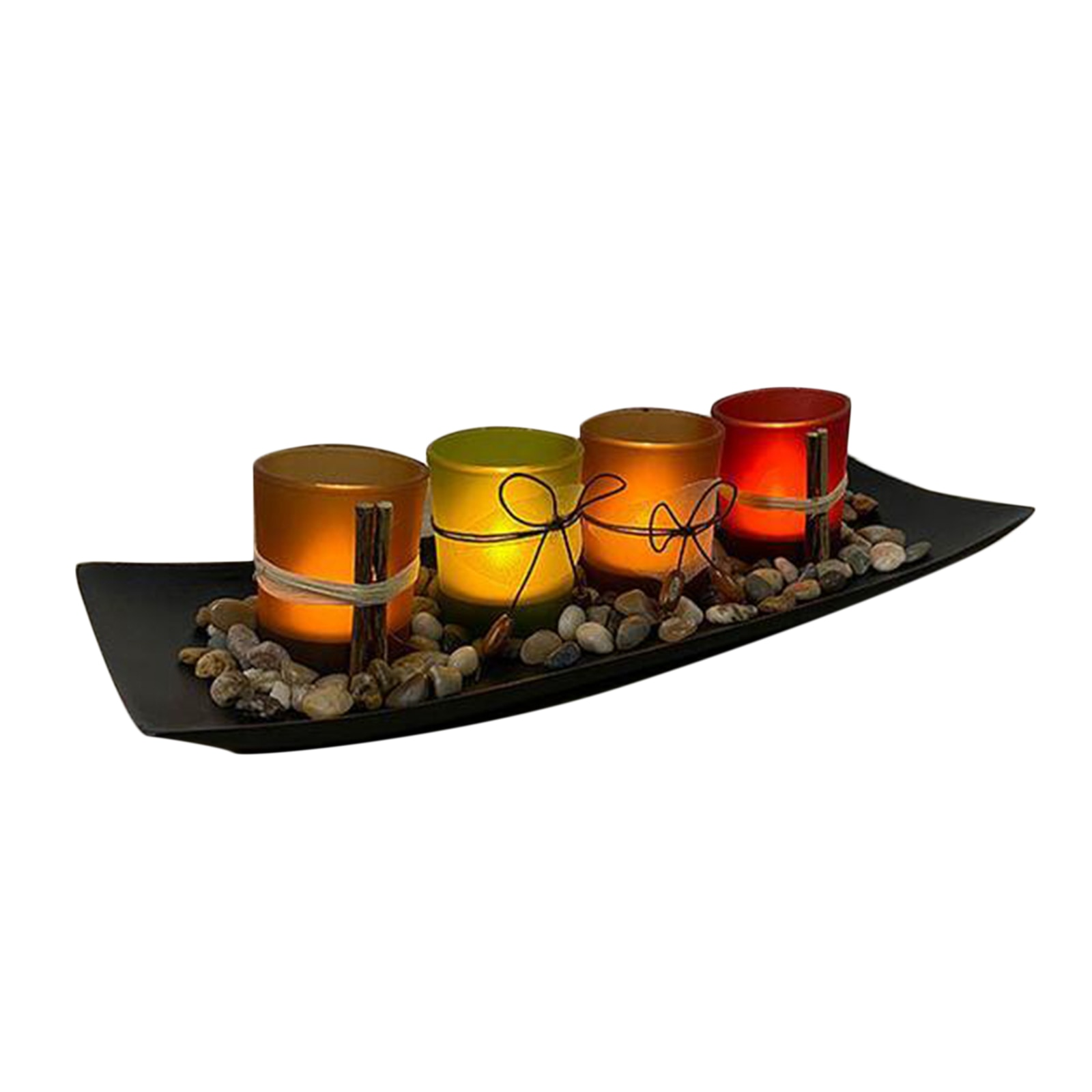 Candle Holders Set for Bathroom Decorations Dining Room Table Centerpieces Decor Large Tray with 4 Candle Holders  - buy with discount