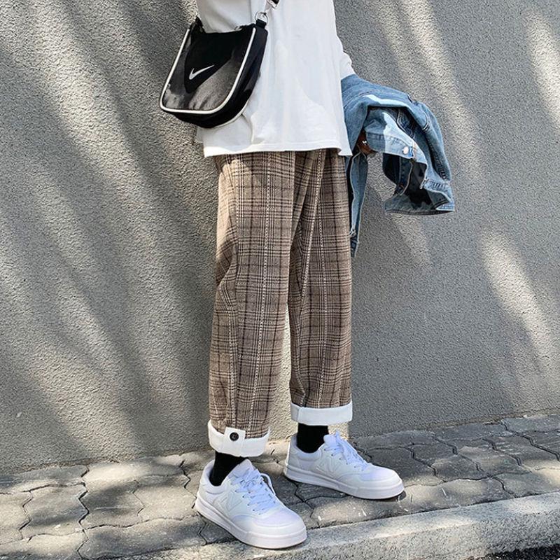 Мужские корейские брюки в клетку E-BAIHUI, повседневные брюки-султанки 2020, мужские повседневные Черные спортивные брюки, женские шикарные своб... olive e miele повседневные брюки