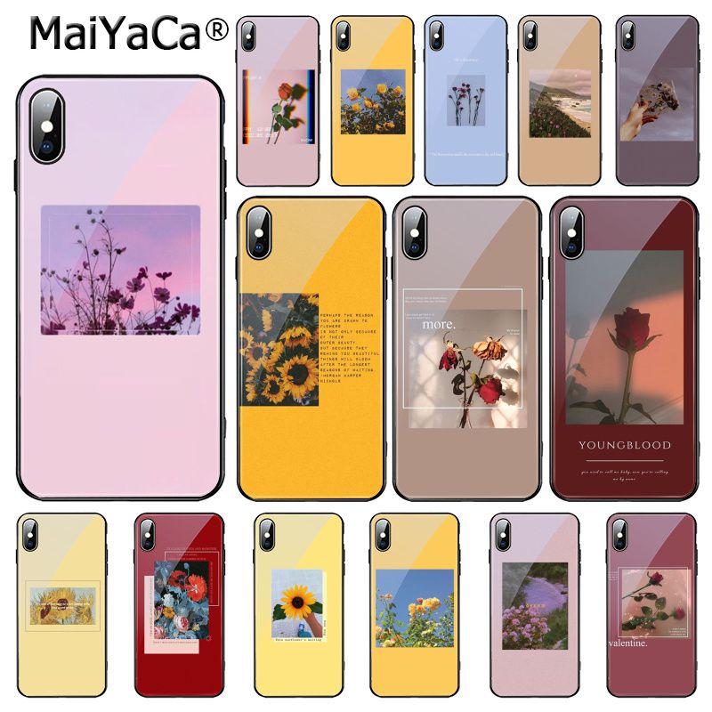 MaiYaCa, grandes impresiones artísticas, flores florecientes, funda de teléfono de cristal templado de girasol rosa para iPhone 11 Pro XR XS MAX 8X7 6S 6 Plus