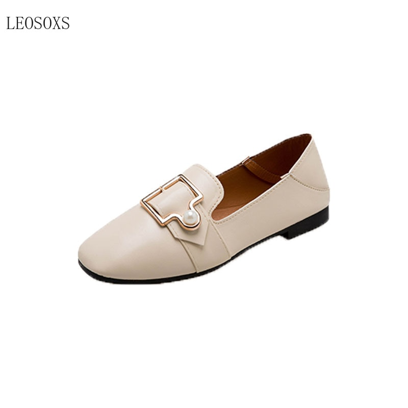 Zapatos Leosoxs de estilo coreano, zapatos planos con quilla de doble propósito, zapatos finos para mujer, zapatos de primavera con cabeza cuadrada, boca media, Shoes35-40 superior baja