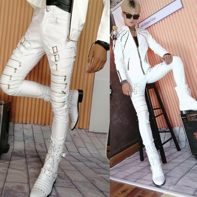 Pants Men Winter Zipper Male Slim Black Leather Trousers Tight Leather Pants Male Pantalon Homme Trousers Men Hip Hop Streetwear