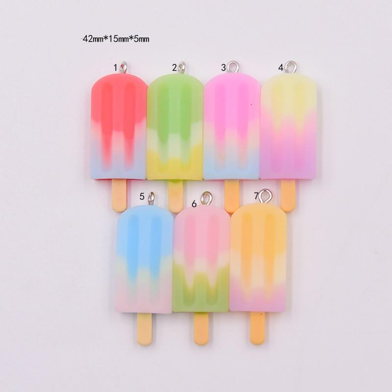 10 Uds. Helado de simulación de Color arcoíris con gancho cabujón de resina parte posterior plana DIY Scrapbooking colgantes llavero de Decoración Accesorios